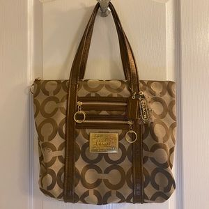 Coach Metallic GoldBronze Leather Trim Canvas Tote